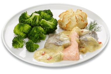 Vispannetje met zalm broccoli/puree