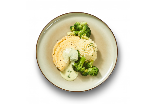 Omelet met hollandaisesaus broccoli en puree